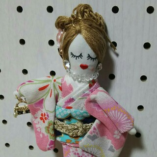 ピンク 女の子 バッグチャーム キーホルダー(キーホルダー)
