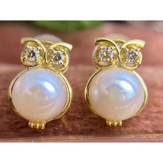 Owlくん✨動物モチーフ✨あこや真珠ダイヤモンドふくろうピアスK18YG(ピアス)