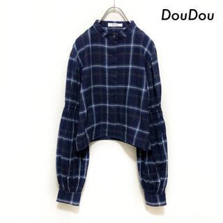 ドゥドゥ(DouDou)のDouDou ドゥドゥ★チェック柄 長袖シャツ ショート丈 ネイビー 紺(シャツ/ブラウス(長袖/七分))