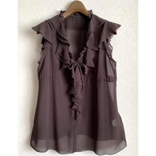 クードシャンス(COUP DE CHANCE)の美品❣️クードシャンス♥︎トップス♥︎ブラウス♥︎茶♥︎M(シャツ/ブラウス(半袖/袖なし))