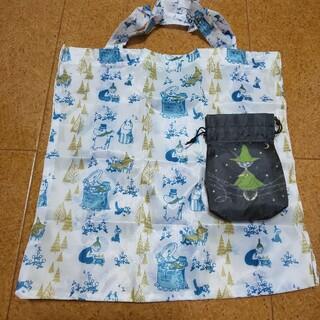 タイトー(TAITO)のムーミン 巾着付きエコバッグ スナフキン柄 タイトー 黒 ブラック(キャラクターグッズ)