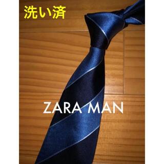 ザラ(ZARA)の美品 ザラ ブルー×ブラックストライプ(ネクタイ)