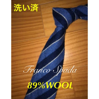 イセタン(伊勢丹)の美品 フランコスパダ ブルー系ストライプ ウールタイ(ネクタイ)
