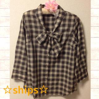 シップス(SHIPS)の美品♡shipsチェックタイ付きシャツ(シャツ/ブラウス(長袖/七分))