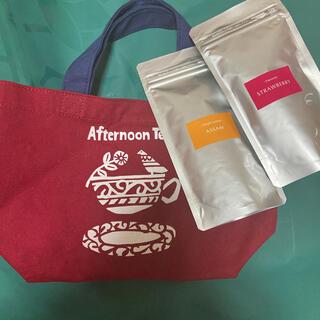 アフタヌーンティー(AfternoonTea)のAfternoon Tea/トートバッグ レッド&紅茶2点 セット(茶)