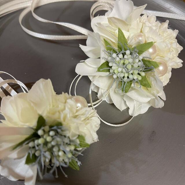 toytoy700 親子コサージュセット白マム 【オールホワイト】入学式 結婚式 ハンドメイドのアクセサリー(コサージュ/ブローチ)の商品写真