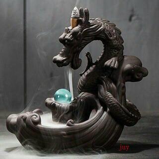 オブジェ 置き物 紫砂 陶器 龍 インテリア お洒落 香炉 流川香 線香立て(彫刻/オブジェ)