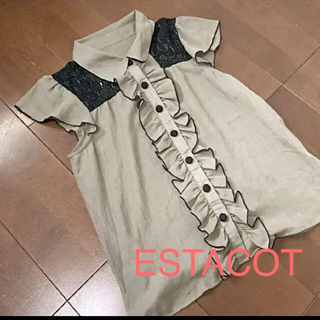 エスタコット(ESTACOT)の専用ESTACOT シアーシャツ ブラウス フリル レース カーキ(シャツ/ブラウス(半袖/袖なし))