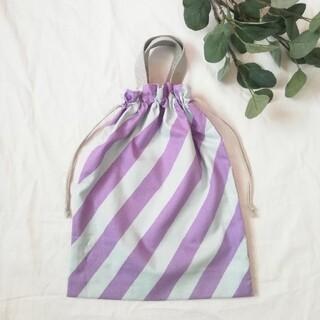 巾着バッグ●紫水色ボーダー×薄グレー(ファッション雑貨)