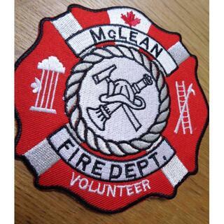 赤白◆新品カナダ消防署McLEAN CANADA刺繍ワッペン(パッチ)ミリタリー(その他)