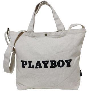プレイボーイ(PLAYBOY)のPLAYBOY プレイボーイ トートバッグ 2WAY 帆布 ロゴ★アイボリー新品(トートバッグ)