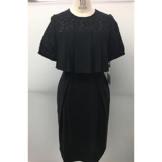 スコットクラブ(SCOT CLUB)のSCOT CLUB購入 黒カットジャガード切り替えドレス 新品未使用タグ付き(ミディアムドレス)