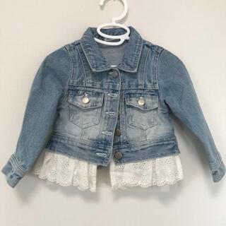 アンバー(Amber)の韓国子供服 レース付デニムジャケット(ジャケット/上着)
