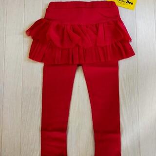 韓国子供服BEE レギンス付スカート 2段フリルワインレッド 100(スカート)