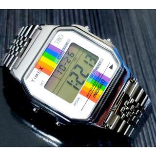 タイメックス(TIMEX)のタイメックス T80 シルバー×レインボー 激レア 日本未発売!(腕時計(デジタル))