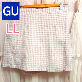 ジーユー(GU)のGU ギンガムチェック キュロットスカート ピンク(キュロット)