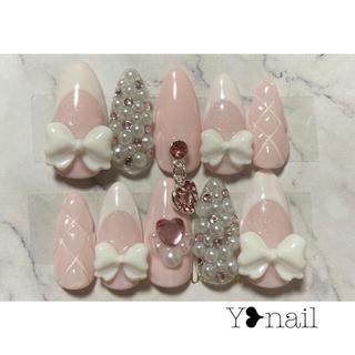 量産型 フレンチ ピンク リボン♡ネイルチップ