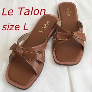 Le Talon - Le Talon スクエアステッチリボンサンダル
