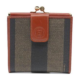フェンディ(FENDI)のフェンディ  二つ折り財布  ペカン がま口 コンパクト財布   ブラウ(折り財布)