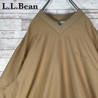 L.L.Bean - 【古着】エルエルビーン 刺繍ロゴ Vネック ナイロンプルオーバー ベージュ XL