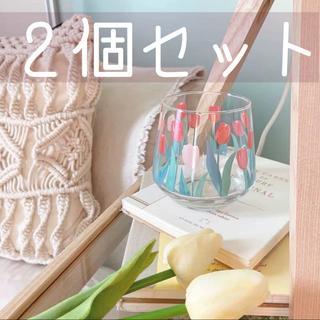 チューリップ グラス 2個セット 韓国 カフェ 雑貨 (グラス/カップ)