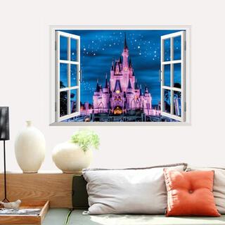 シンデレラ城 ウォールステッカー 夜景 窓枠 インテリア シール プリンセス 城(ウェルカムボード)