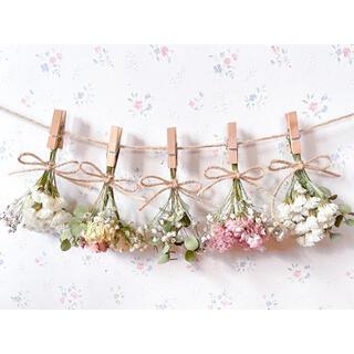 淡い3種のバラとかすみ草とユーカリの淡いピンクドライフラワーガーランド♡スワッグ(ドライフラワー)