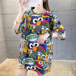 セサミストリート(SESAME STREET)のセサミストリート Tシャツ オーバーサイズ 韓国 体型カバー L 派手 かわいい(Tシャツ(半袖/袖なし))