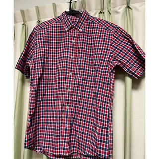 カンゴール(KANGOL)のKANGOL 赤紺白チェック半袖シャツ Lサイズ(ウエア)
