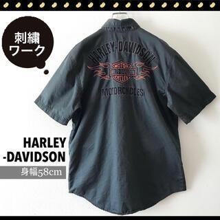 ハーレーダビッドソン(Harley Davidson)のハーレーダビッドソンモーターサイクル★刺繍ロゴ★ピットシャツ/ワークシャツ(シャツ)