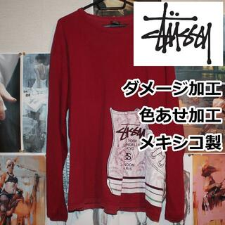 ステューシー(STUSSY)の STUSSY/ダメージ加工/色あせ加工/メキシコ製/L/ロンT(Tシャツ/カットソー(七分/長袖))