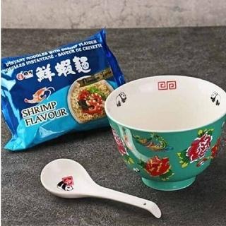 カルディ(KALDI)の新品 カルディ 台湾フェア パンダ どんぶりとれんげセット 海老ラーメン付き(食器)
