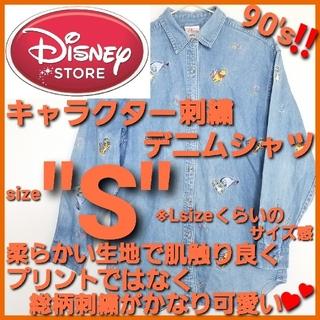 ディズニー(Disney)のDISNEY ディズニー✨キャラクター刺繍 デニムシャツ‼️くまのプーさん 総柄(シャツ/ブラウス(長袖/七分))
