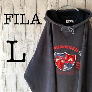 フィラ(FILA)の【FILA×ヴィンテージ】古着 フィラ メンズ パーカー ダークグレー 1点物(パーカー)