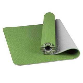 グリーン+グレーWsky ヨガマット トレーニングマット エクササイズマット 厚(ヨガ)