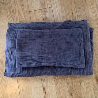 MUJI (無印良品) - 無印良品 オーガニックコットン三重ガーゼ 敷布団シーツ+枕カバー