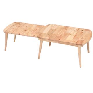 新品 送料込 スライド式センターテーブル 天然木 ラバーウッド 木製(ローテーブル)