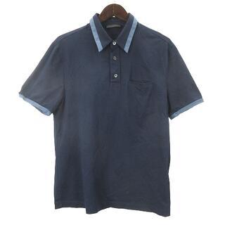 プラダ(PRADA)のプラダ PRADA 16年製 ポロシャツ 半袖 M ネイビー 210329O(ポロシャツ)