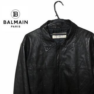BALMAIN - バルマン BALMAIN レザー ジャケット 羊革 ラムレザー ビッグシルエット