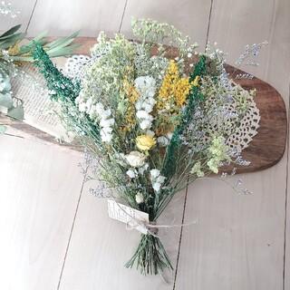 ミモザと小花のナチュラルドライフラワースワッグ 花束 ブーケ(ドライフラワー)