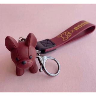 【レッド】 フレンチブルドッグ キーホルダー 赤 バッグチャーム キーリング 犬(キーホルダー)