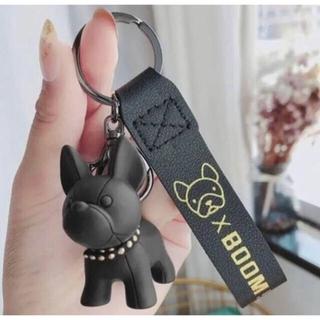 【ブラック】 フレンチブルドッグ キーホルダー バッグチャーム キーリング 犬(キーホルダー)