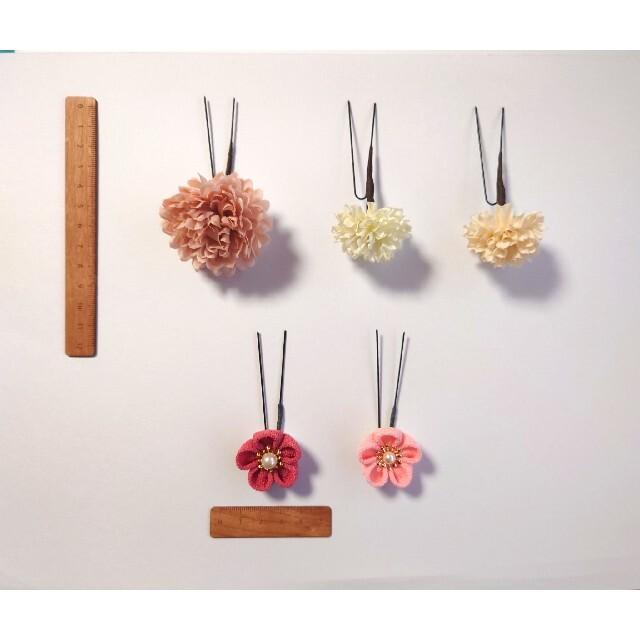 つまみ細工 小さな*落ち着いたお色の髪飾り⑤ ハンドメイドのアクセサリー(ヘアアクセサリー)の商品写真