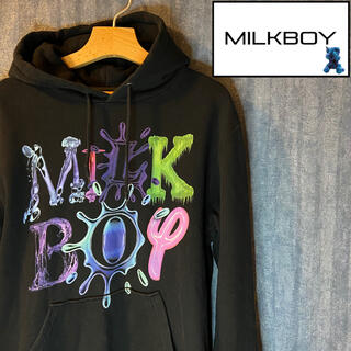 ミルクボーイ(MILKBOY)のMILK BOY ビッグロゴ プルオーバーパーカー ブラック (パーカー)
