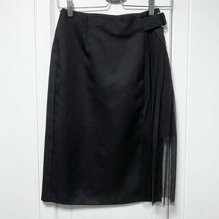 エモダ(EMODA)のEMODA タイト プリーツ スカート ブラック(ひざ丈スカート)
