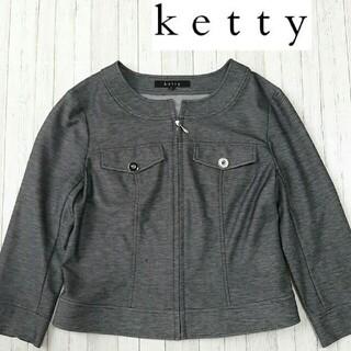 ケティ(ketty)のKetty 7分袖ノーカラージャケット Mサイズ(ノーカラージャケット)