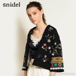 snidel - snidel◆エンブロイダリージャケット/FREE/コットン/BLK