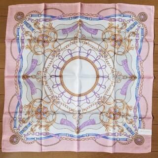 トラサルディ(Trussardi)のTRU TRUSSARDI トラサルディ スカーフ ハンカチ シルク ピンク(バンダナ/スカーフ)