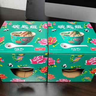 カルディ(KALDI)のペア カルディ 台湾フェア パンダ どんぶりとれんげセット 海老ラーメン付き(食器)