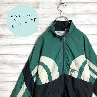 リーボック(Reebok)の【アースカラー】90s リーボック 刺繍ロゴ グリーン ナイロンジャケット(ナイロンジャケット)